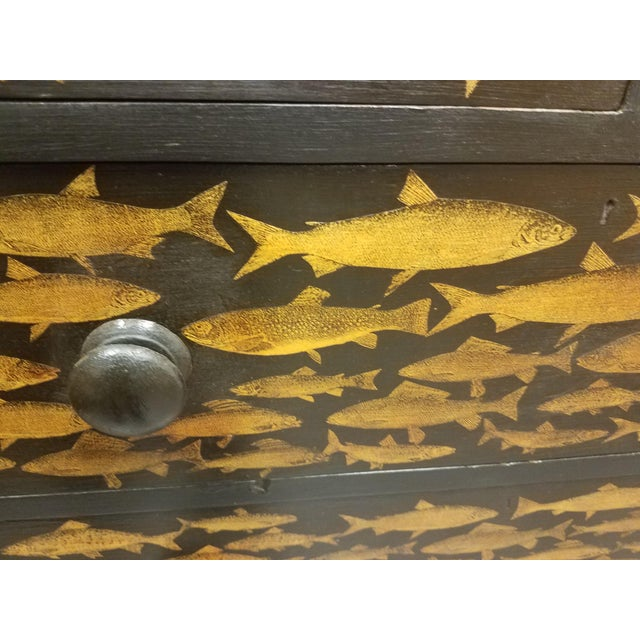 Wood Antique English Fish Decoupage Chest of Drawers For Sale - Image 7 of 13