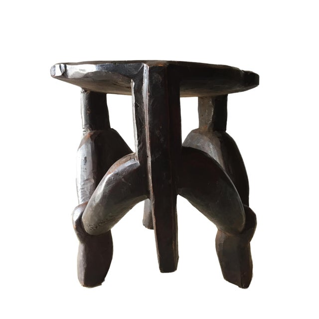African Carved Wooden Makonde Three-Legged Stool From Tanzania For Sale - Image 3 of 8