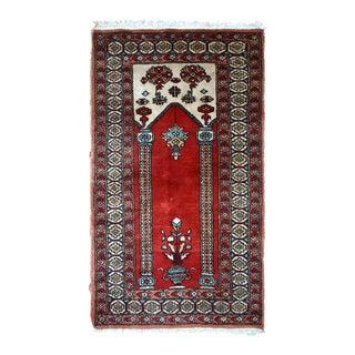 1970s handmade vintage prayer Turkish Konya rug 2' x 3' For Sale