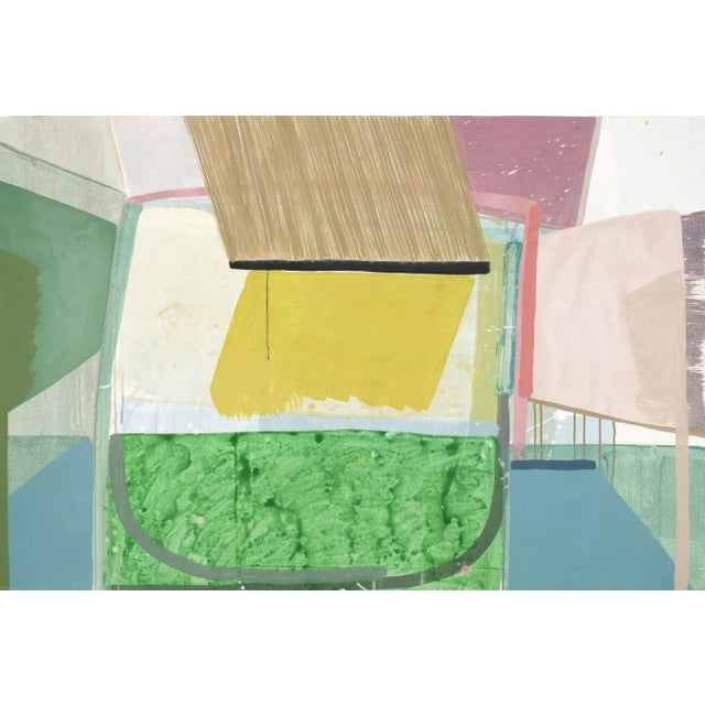 """OPEN HOUSE, 2018 acrylic and ink on paper 36 x 54 in. """"My paintings inhabit their own unique space, while drawing from..."""