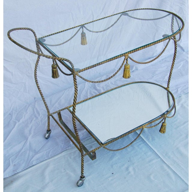 1950s Vintage Italian Bar & Beverage Liquor Tea Party Cart For Sale - Image 5 of 12