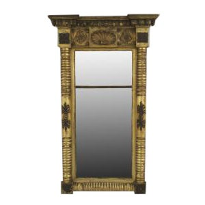American Empire gilt wood and ebonized trimmed pier mirror
