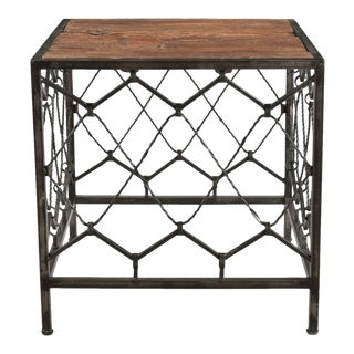 Wooden Top Metal Square Accent Table