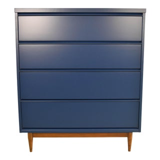 19th Century Mid Century Modern Navy Blue Highboy Dresser