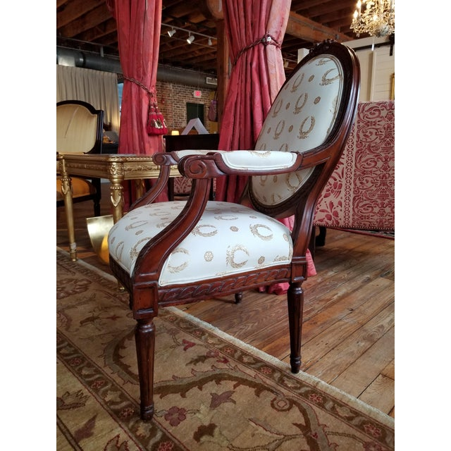 Canvas Mid 20th Century Louis XVI Fauteuil For Sale - Image 7 of 9