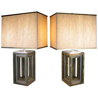 Pair of 1970s Italian Chrome and Brass Lamps by Romeo Rega For Sale