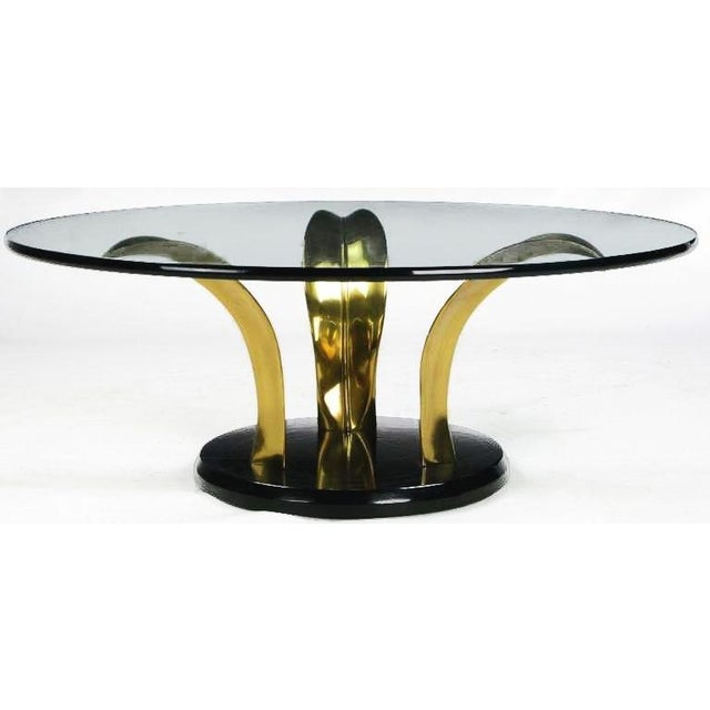 Gold Black Lacquer & Brass Palm Leaf Cocktail Table For Sale - Image 8 of 8