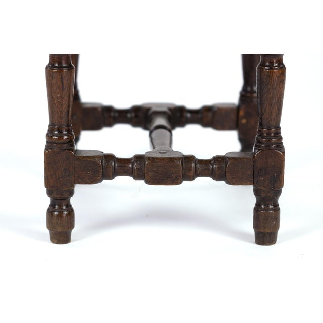 Oak English Oak Square Stool With Turned Legs and H-Stretcher, Circa 1890 For Sale - Image 7 of 11