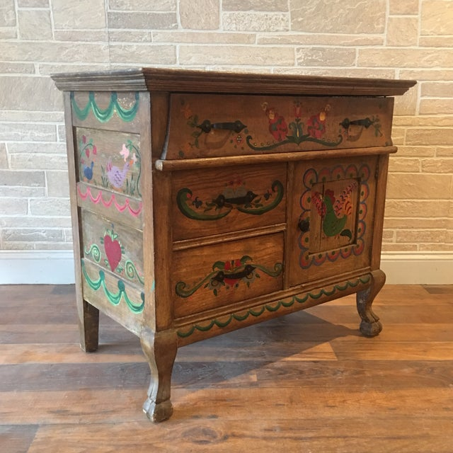 Early 21st Century Dutch Folk Art Painted Oak Chest For Sale - Image 10 of 13