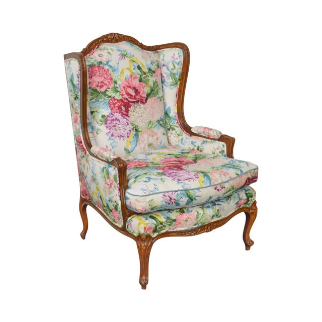 Meyer Gunther Martini Custom Floral Upholstered French Louis XV Style Bergere Wing Chair For Sale