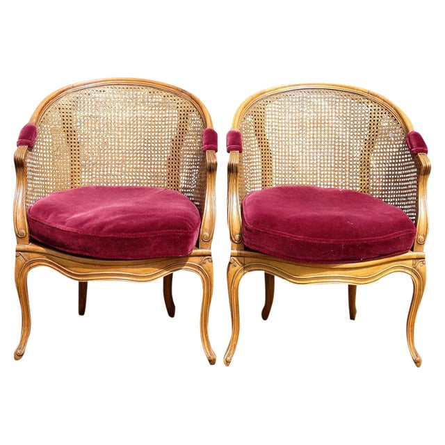 Louis XV Style Caned Lounge Chairs - A Pair For Sale