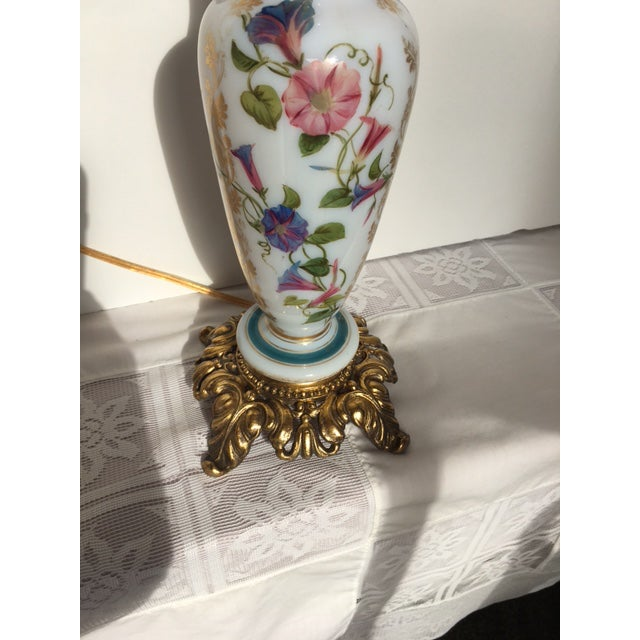 Vintage Morning Glory Bristol Glass Table Lamp For Sale In Chicago - Image 6 of 7