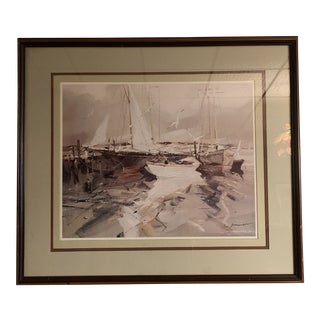 Vintage Mid-Century Abstract Nautical Painting For Sale
