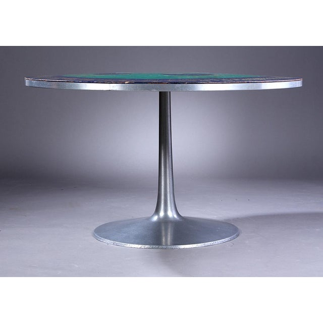 "Circular tabletop with aluminum edge, decorated with the classic ""Mygge"" decoration, a Bjorn Wiinblad inspired decoration...."