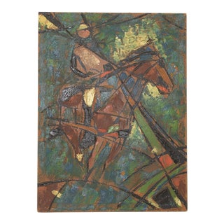 "Vintage Impasto ""Polo Match"" Oil Painting C.1980 For Sale"