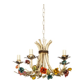 5 Arm Colorful Rosebud Tole Chandelier For Sale