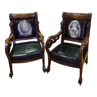 Mahogany With Pearl Inlaid Heavily Carved Chairs - a Pair