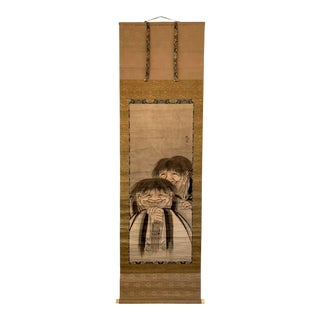 Large Antique Zen Japanese Ink Scroll After Sesson Shukei For Sale
