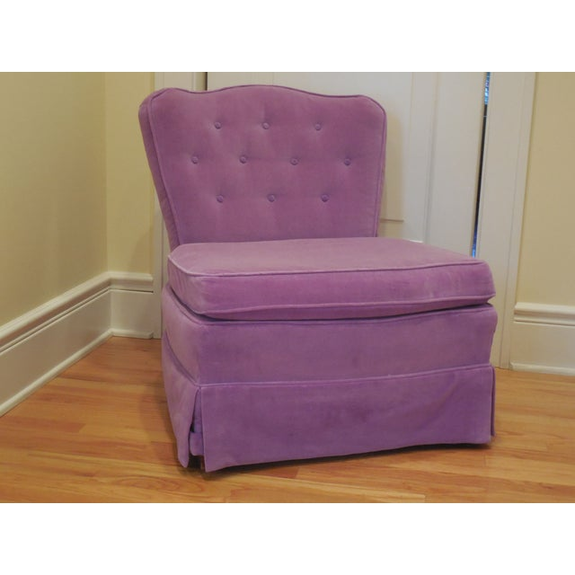 Lilac Velvet Vintage Chairs - A Pair For Sale - Image 5 of 8