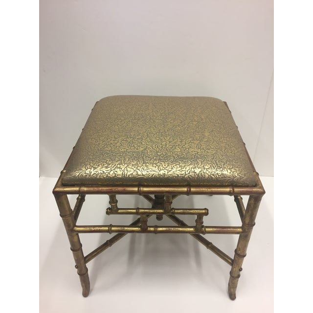 1960s Vintage Gilt Iron Faux Bamboo Ottoman Bench For Sale - Image 9 of 10