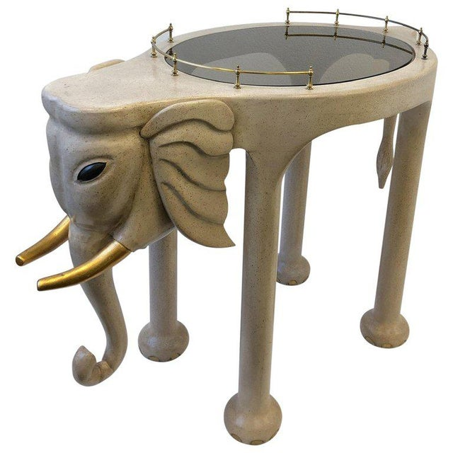 1980s Carved Wood Elephant Bar Cart by Marge Carson For Sale - Image 12 of 12