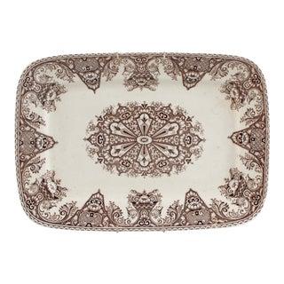 "Antique English Brown Transferware Serving Platter ""Milan"" Pattern W. H. Grindley & Co. For Sale"