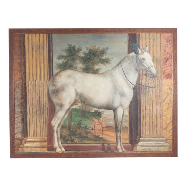 Paint Mid Century Oil Painting on Canvas of a White Horse For Sale - Image 7 of 7