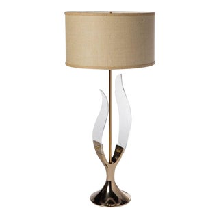 Lucite and Brass Sculptural Lamp by Laurel Lighting Company For Sale
