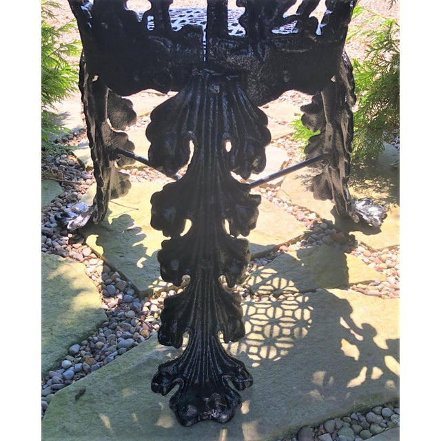 Black Antique Garden Chair Cast Iron in the Morning Glory Pattern For Sale - Image 8 of 13