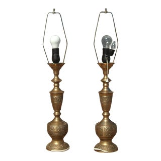 James Mont Style Mid Century Asian Brass Table Lamps -A Pair For Sale