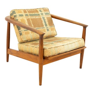 Milo Baughman Style Mid Century Curved Back Walnut Lounge Chair For Sale