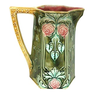 Frie Onnaing Majolica Pitcher Jug Made in France For Sale