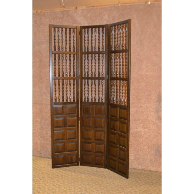 Wood Vintage Jacobean Style Wood Room Divider For Sale - Image 7 of 13