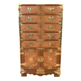 Vintage Republic of China Burlwood & Teak Campaign Bachelor's Chest For Sale
