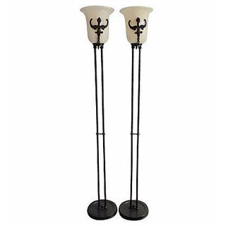 Metal Gargoyle and White Alabaster Floor Lamps, a Pair For Sale