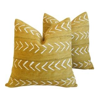 "Custom Gold & Cream Mali Tribal Mud Cloth Feather/Down Pillows 22""- Pair For Sale"