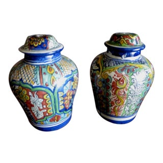 Mexican Ginger Jar Lamp Bases - a Pair For Sale