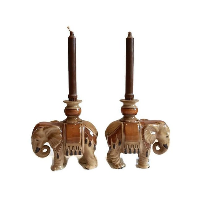 Ceramic Fitz & Floyd Elephant Candle Holders - A Pair For Sale - Image 7 of 10
