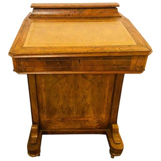 19th Century Top Lid With Fitted Interior Line & Burl Inlaid Davenport Desk For Sale