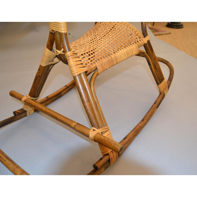 1960s Rattan and Bamboo Rocking Horse Sculpture Inspired by Franco Albini For Sale - Image 9 of 13