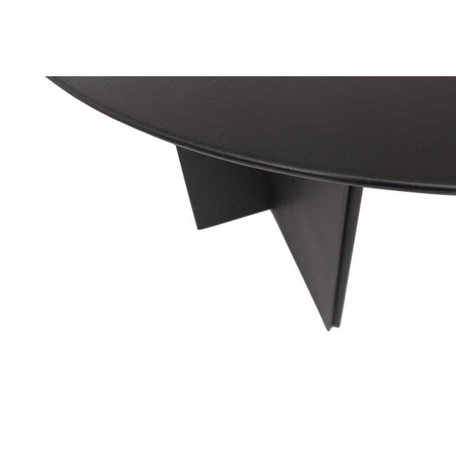 Durlet Round Dining Table in Black Leather for Durlet, 1970s For Sale - Image 4 of 10