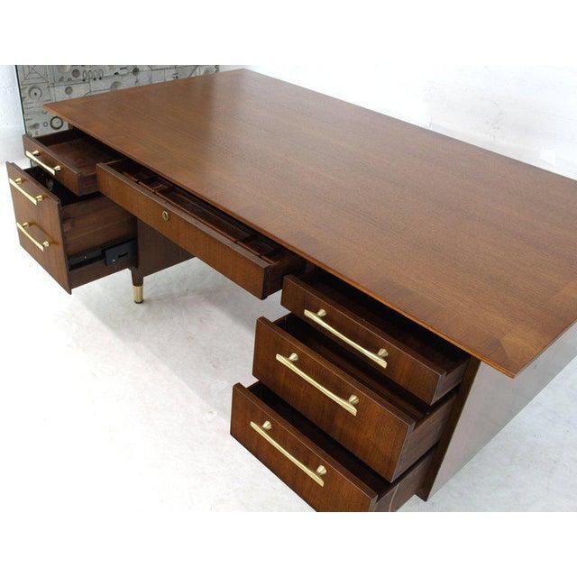 Brown Caned Back Overhanging Floating Banded Top Large Brass Hardware Executive Desk For Sale - Image 8 of 12
