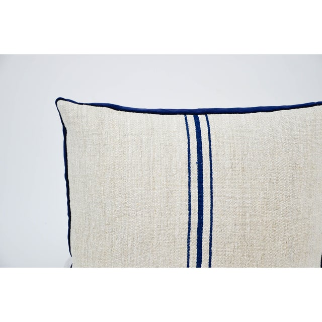 "20"" square boxed vintage grain sack pillow. These pillows have a vintage grain sack front with a navy stripe and vintage..."