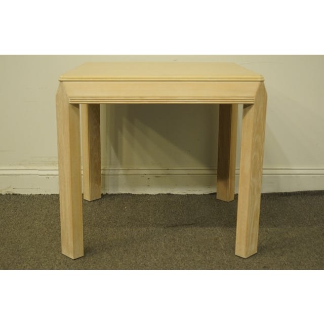 """20th Century Transitional Drexel Heritage Collection Contemporary Blonde 27"""" Square Accent Table For Sale In Kansas City - Image 6 of 10"""