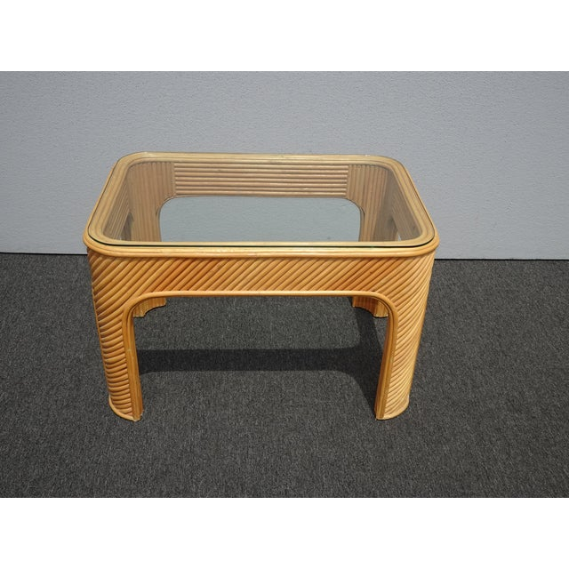 Mid-Century Modern Vintage Mid Century Modern Split Bamboo Rattan Coffee End Table For Sale - Image 3 of 11