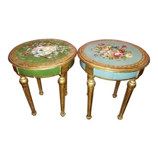 20th Century Italian Florentine Giltwood Polychrome Tables - a Pair For Sale