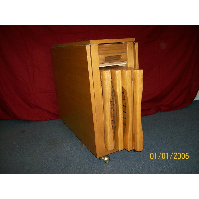 Mid-Century Romanian Modern Drop Leaf Table With 4 Wooden Chairs - Image 9 of 10
