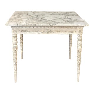 Center/End Table, 18th Century Swedish Painted With Marble Top For Sale