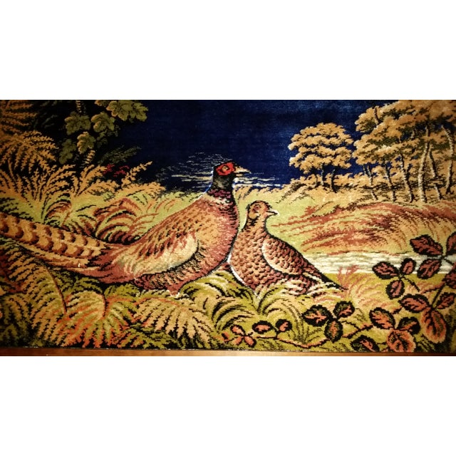Vintage Pheasant Framed Rug Wall Art For Sale - Image 4 of 7