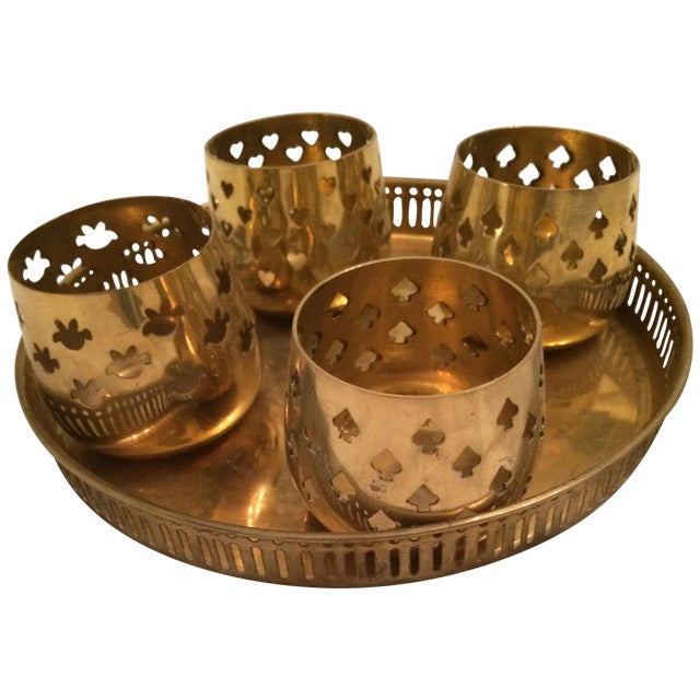 Vintage Brass Tray With Votive Candle Holders - Image 1 of 6